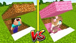 БАЗА НУБА против БАЗЫ ДЕВУШКИ В Майнкрафте! Minecraft Мультики Майнкрафт троллинг Нуб и Про