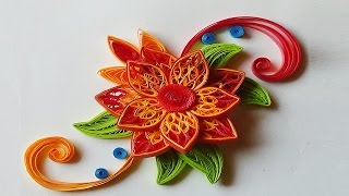quilling flowers | how to make flowers with paper step by step I Quilling orange/red Flower