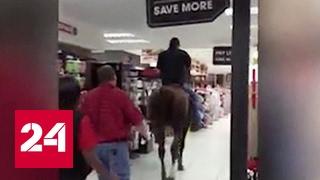Житель ЮАР заехал в супермаркет верхом на коне