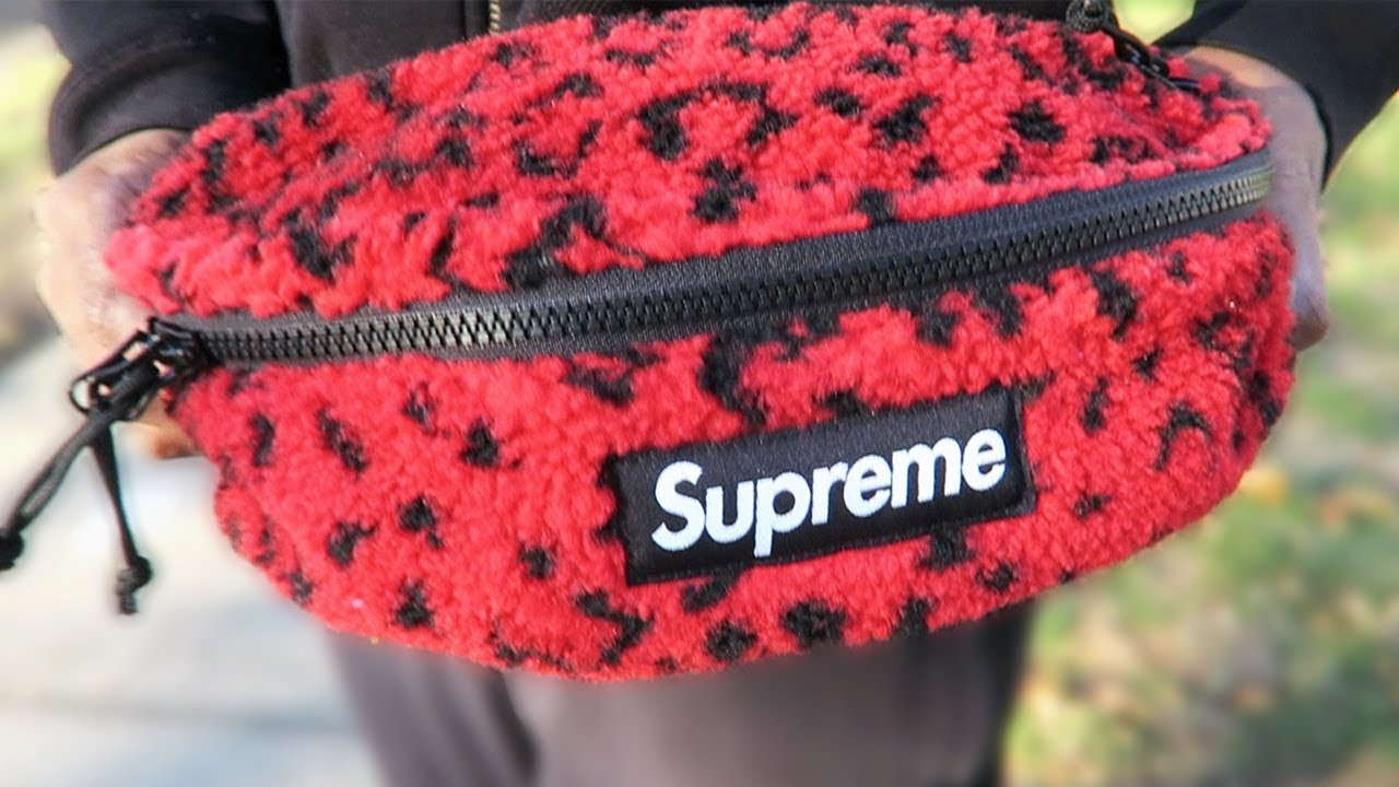7bd60dfde3f6 Supreme Red Leopard Fleece Waist Bag • Trying On & Packing - YouTube