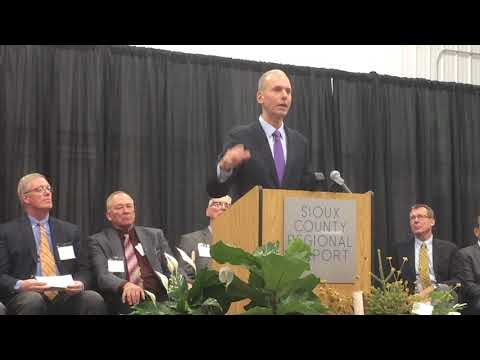 Boeing CEO Dennis Muilenburg speaks at opening of Sioux County Reg. Airport.