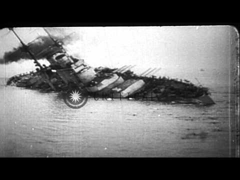 Various WWI events: German submarine Deutschland leaving US; sinking of SMS Szent...HD Stock Footage