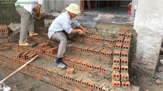 How To Build Beautiful Steps To Step Up Easily -  Install The Most    Accurate Brick Tile Steps