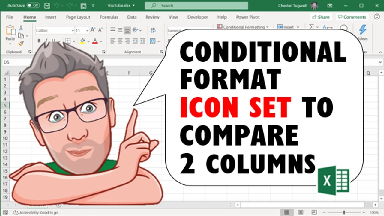 Excel Conditional Format Icon Set to Compare 2 Columns
