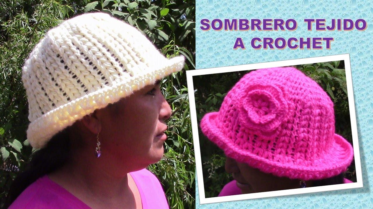 Sombrero con flor en punto garbanzo paso a paso tejido a crochet - YouTube b383d9eca55