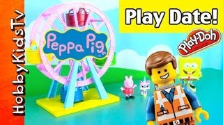 Lego Emmet and WyldStyle at Peppa Pigs PlayGround with HobbyKidsTV