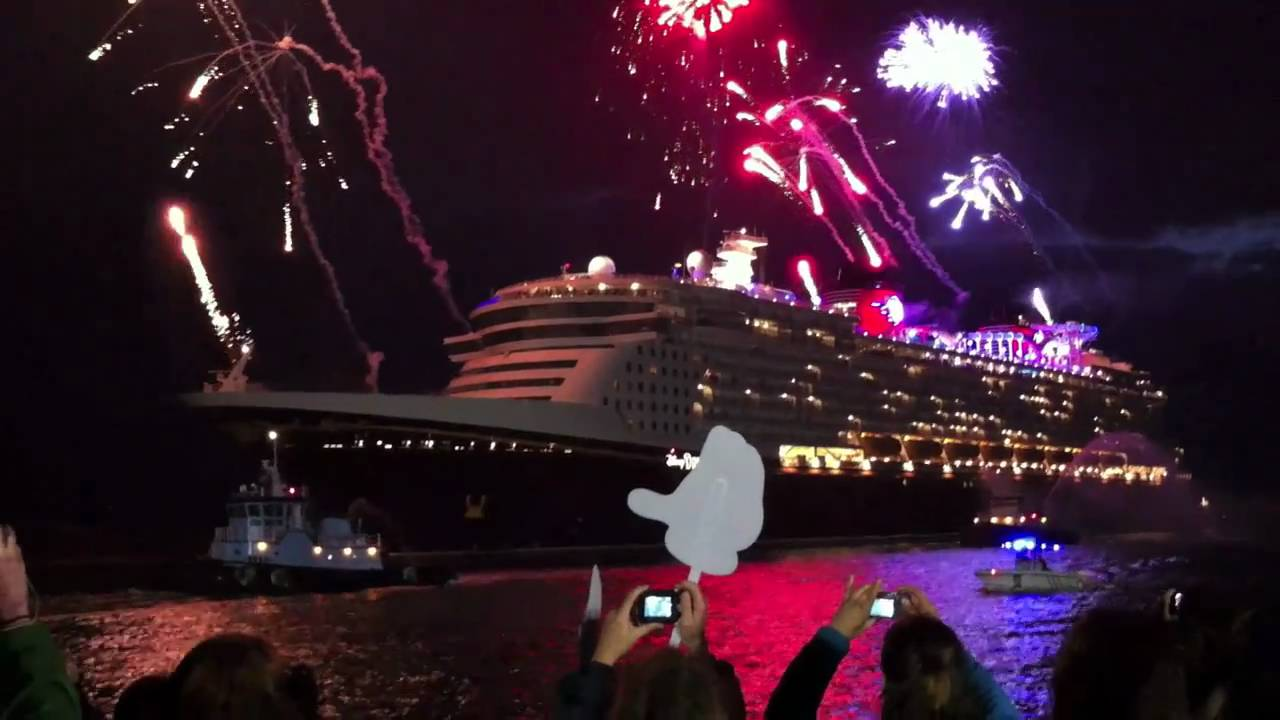 Disney Dream Cruise Ship Arrives With Fireworks At Port