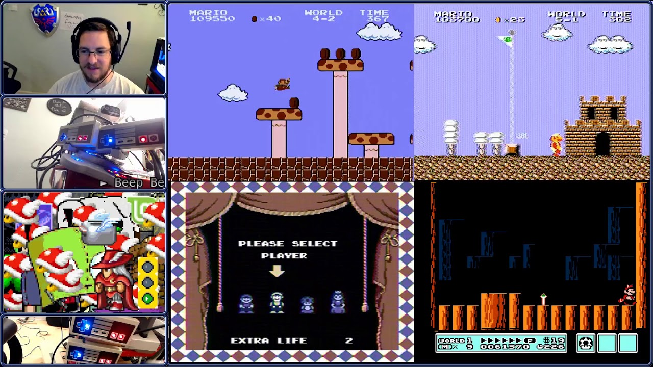TASBot plays SMB1, SMB2, SMB Lost Levels, and SMB3 simultaneously with the  same input