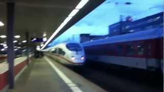 Einfahrt eines ICE3 in Saarbrücken Hauptbahnhof in Richtung Frankfurt am Main Hauptbahnhof