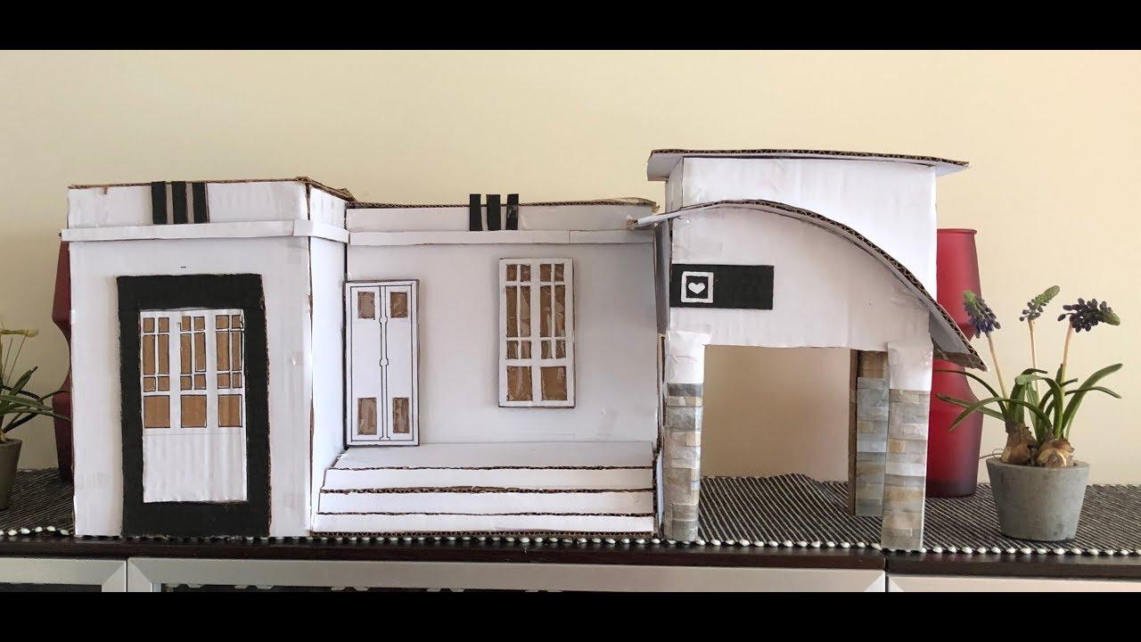 4918db9e11b How to make modern house with cardboard easy - YouTube