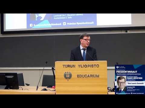 Presidenttiehdokas Paavo Väyrysen (valitsijayhdistys) luento Uusi suunta Suomelle