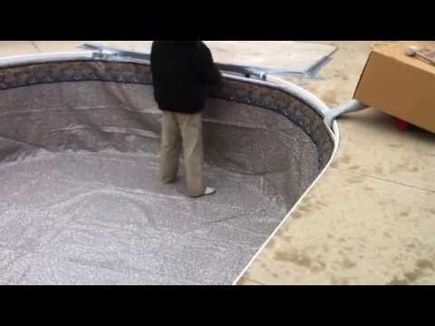 Hanging a pool liner in cold weather