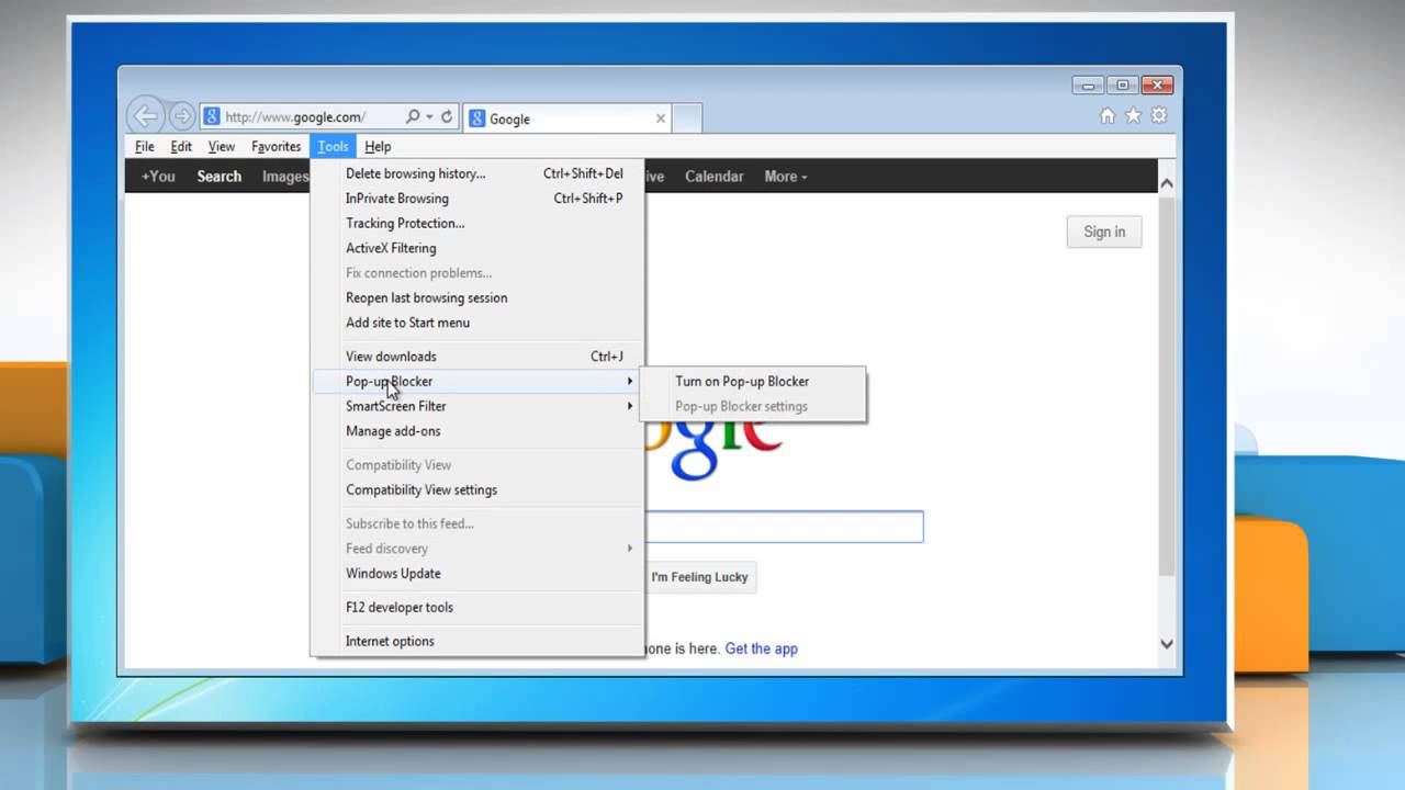 How To Block Pop-ups In Internet Explorer® 10 Preview In