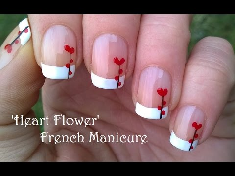 Heart Flower Nail Art Valentines Day French Manicure Tutorial