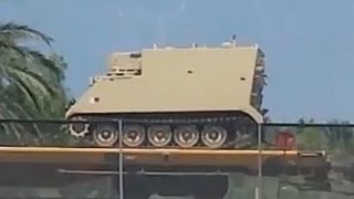 HEAVY MILITARY EQUIPMENT SPOTTED ON TRAIN HEADING TOWARDS LOS ANGELES.