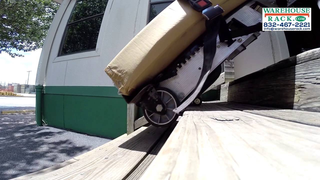 Stair climbing hand truck battery powered youtube for Motorized stair climbing dolly
