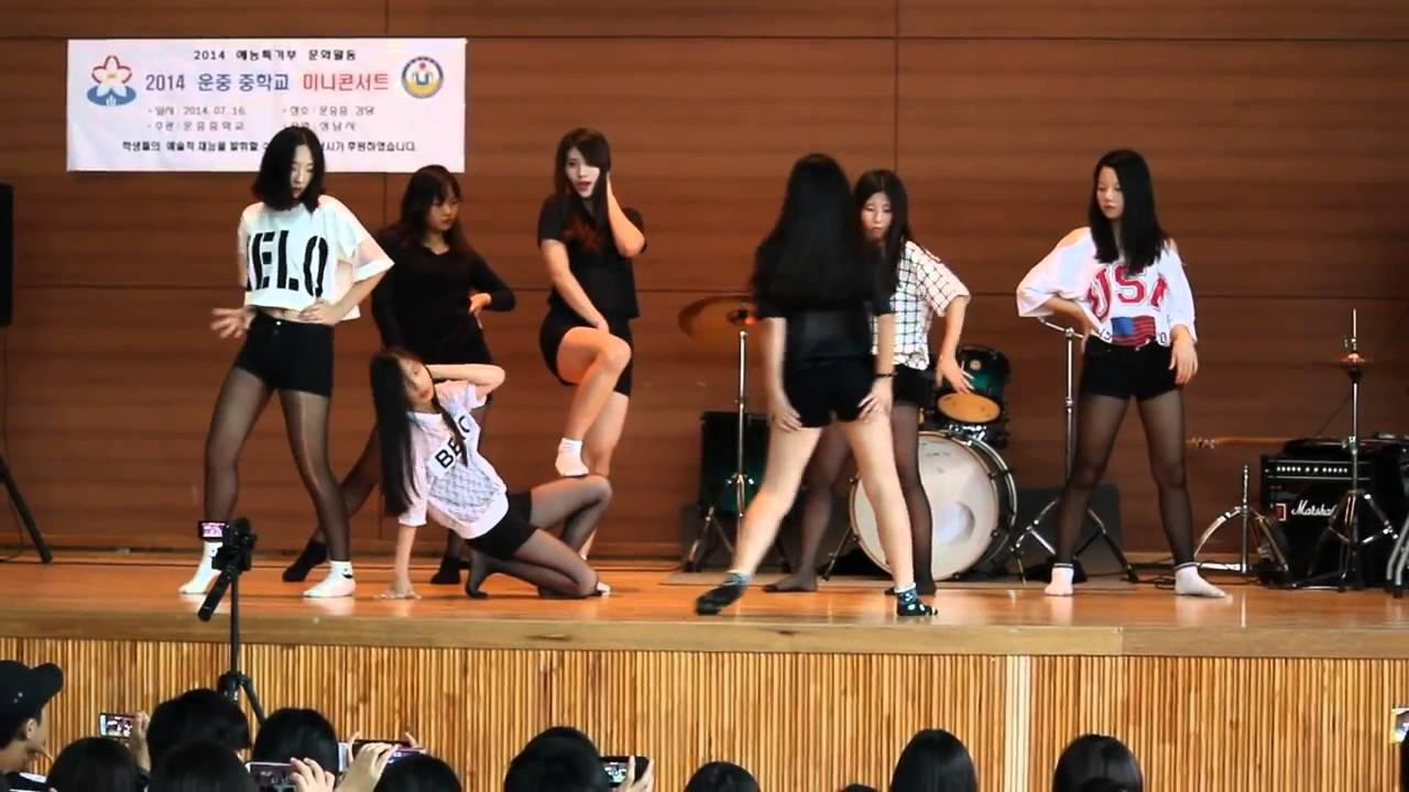 운중중학교 3학년 여중생들이추는  에이핑크  Mr  Chu, AOA   짧은치마