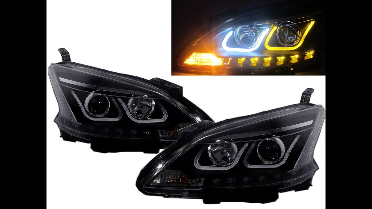 Crazythegod sentra b17 2013 present led u bar projector headlight crazythegod sentra b17 2013 present led u bar projector headlight wsignal black for nissan rhd youtube vanachro Image collections
