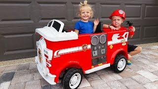 Unboxing And Assembling - The POWER WHEEL Ride On Fire Engine TRUCK Marshall Paw Patrol