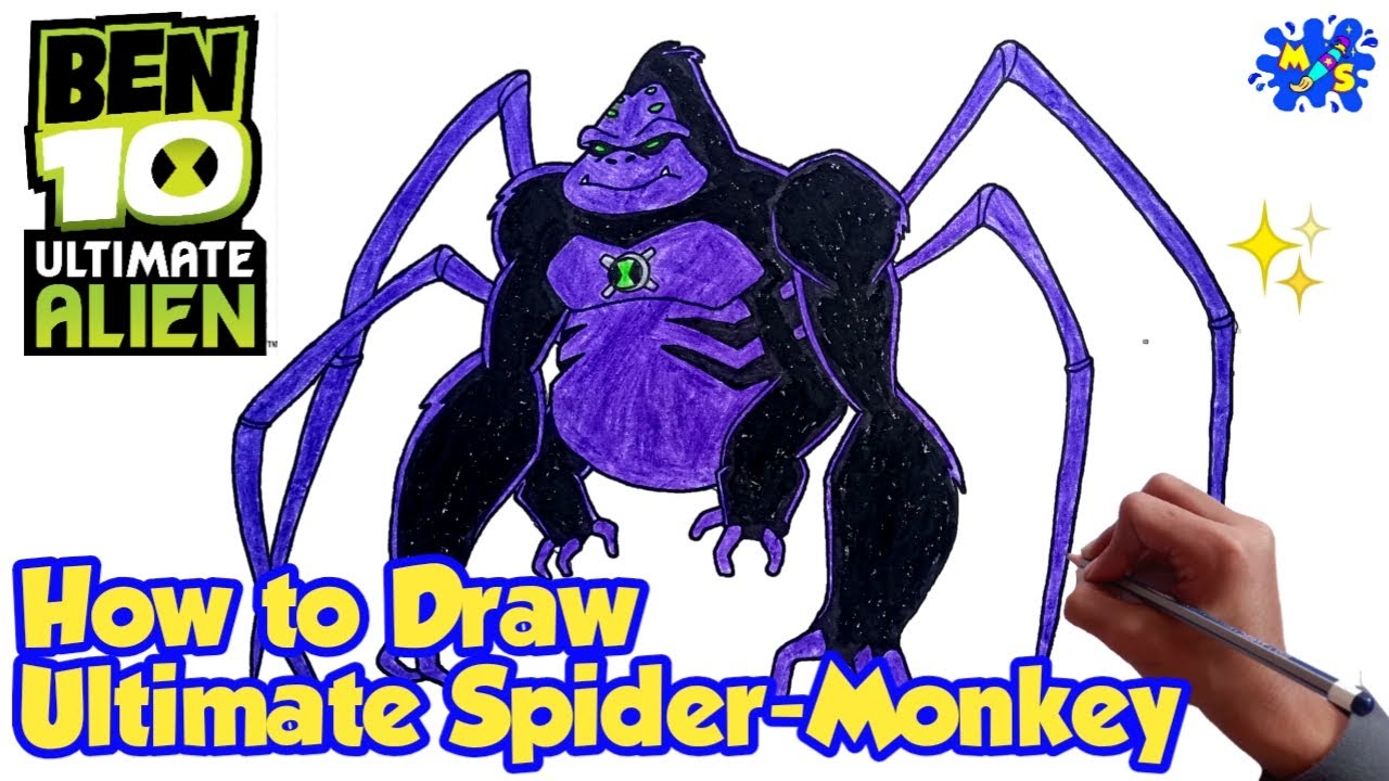 How To Draw Ultimate Spider Monkey From Ben 10 Ultimate Alien Step By Step Drawing Youtube Step By Step Drawing Ben 10 Ultimate Alien Spider Monkey
