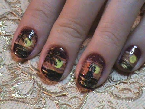 маникюр пальмы на коротких ногтях фото