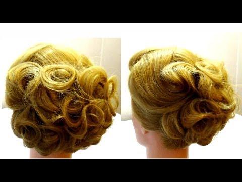 Вечерняя прическа на средние волосы.Прическа на средние волосы.Evening hairstyle for medium hair