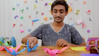 Young Indian boy making colorful birds from craft paper - Origami art