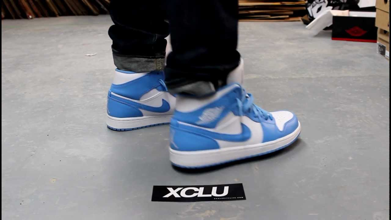 2013 air jordan 1 unc on feet