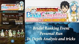 Sword Art Online (Memory Defrag) - Bridal Ranking Event - Personal Run IN-DEPTH Analysis KUROO