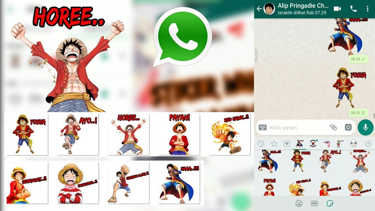 Stiker whatsapp anime one piece monkey d luffy link download png