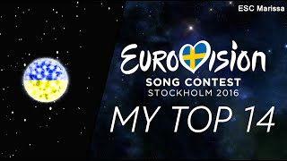 Eurovision 2016 l MY TOP 14 l So far (21/02/16)(Welcome to my Top 14 of Eurovision 2016 so far! :) ║ ALL SONGS ║ Albania: Eneda Tarifa - Përrallë Austria: Zoë - Loin d'ici Belarus: Ivan - Help you fly ..., 2016-02-21T21:30:02.000Z)