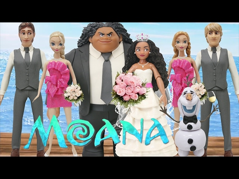"Play Doh Wedding Dress ""Moana"" & Maui - Elsa Anna Hans Kristoff Olaf ""Frozen"""