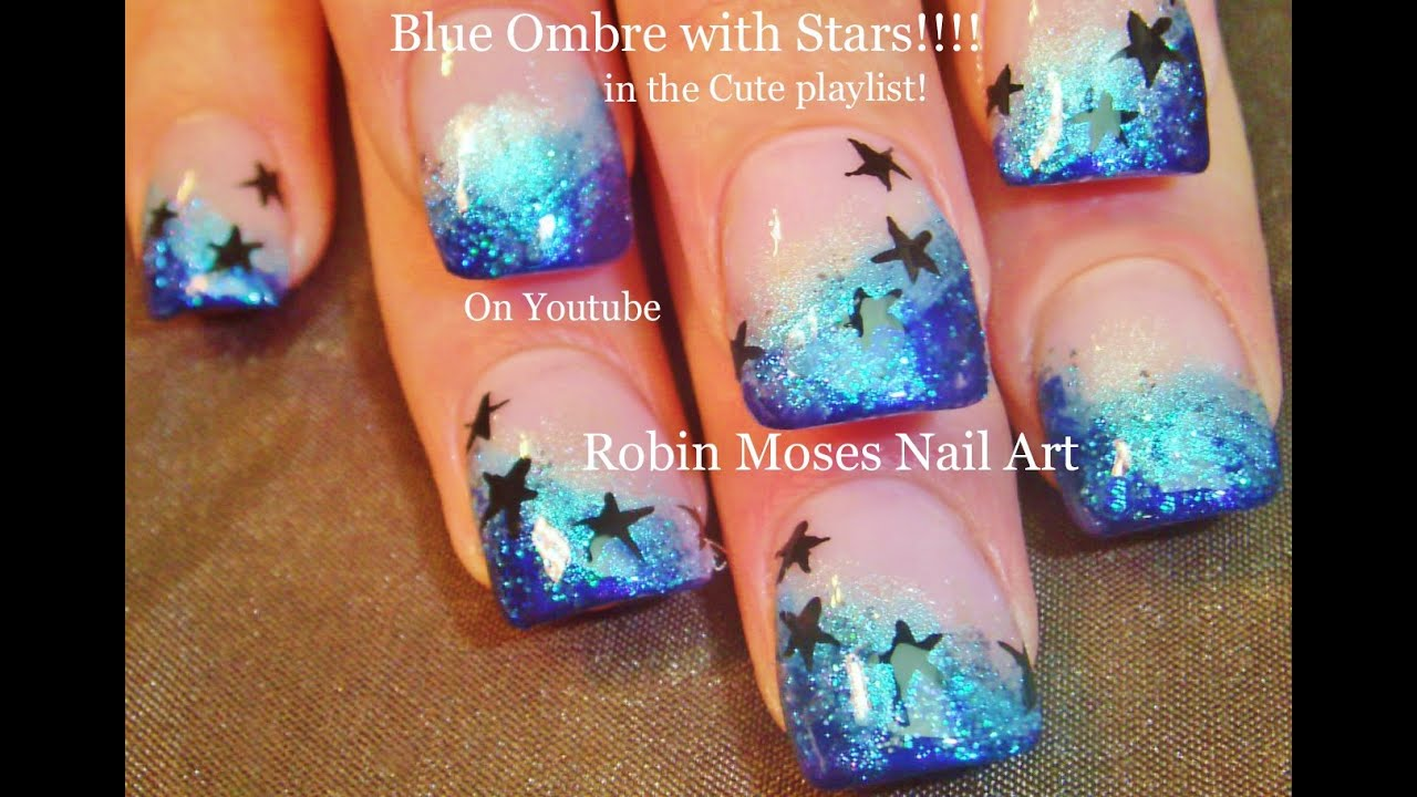 Easy Ombre Short Nail Art Design Glitter And Stars Nails Tutorial