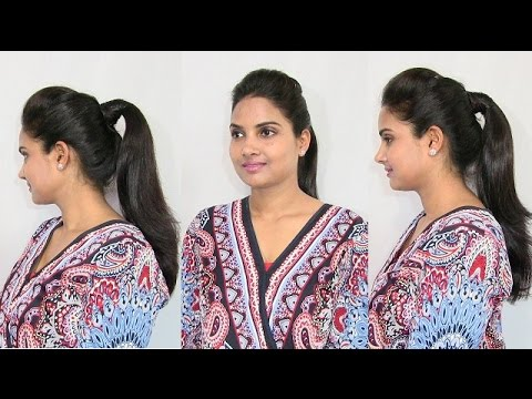 High Ponytail With Puff For Short Medium And Long Hair Youtube