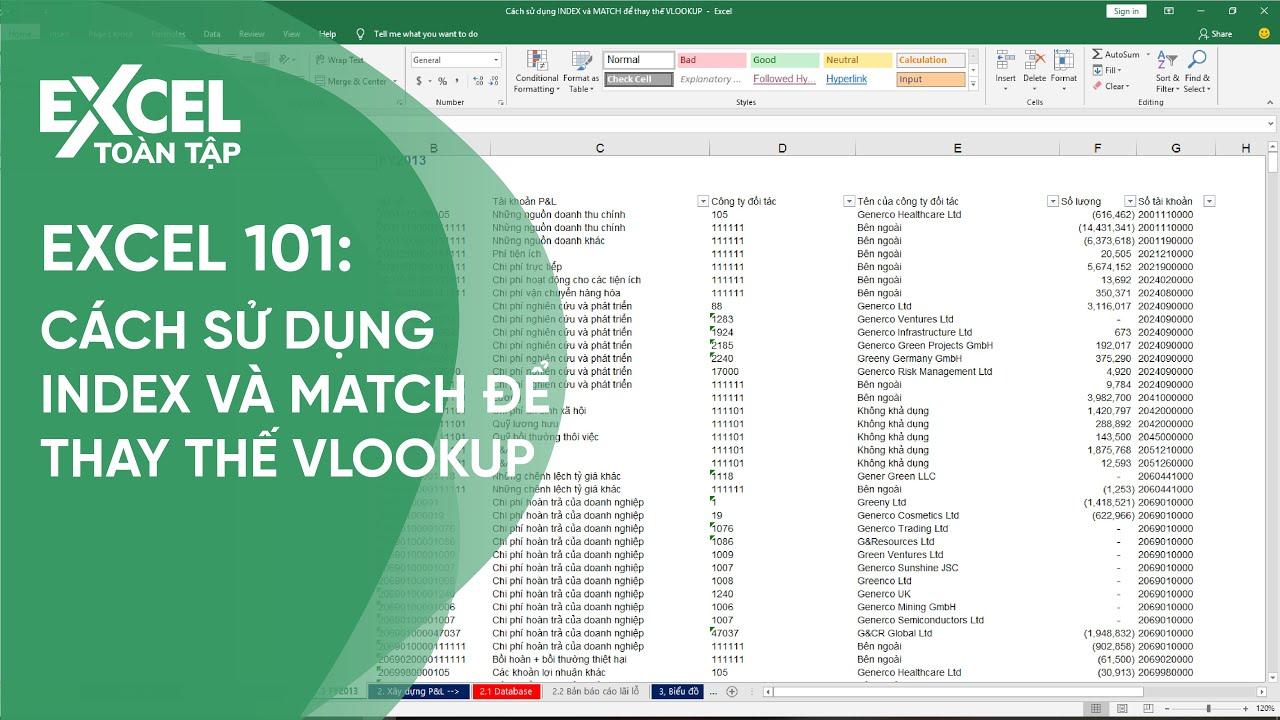 61. Cách sử dụng INDEX và MATCH để thay thế VLOOKUP   Khóa học phần mềm văn phòng Excel