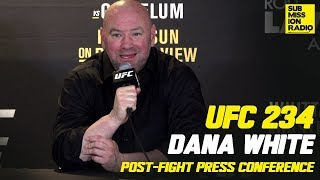 UFC 234: Dana White Reacts to Israel Adesanya beating Anderson Silva and Robert Whittaker withdrawing from the main event fight against Kelvin Gastelum at the UFC 234 APost-Fight Press Conference  Sign Up for your Free Trail of ESPN+ The New Home Of UFC https://espn.zlbu.net/PaB2X  OFFICIAL T-SHIRTS & APPAREL: http://bit.ly/2aH7OoA  SUBSCRIBE FOR MORE: http://bit.ly/2arsrDN  Submission Radio is Now Available on iTunes, Stitcher, Tune In and Soundcloud!  http://submissionradio.com  TWITTER: https://bit.ly/2KvNVhe  FACEBOOK: http://bit.ly/2aIta5z