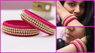 How to make latest designer silk thread pink bangles at home I DIY Easy and Simple Bangles