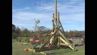 31 Foot Tall Trebuchet In Slow Motion Slinging Pumpkins