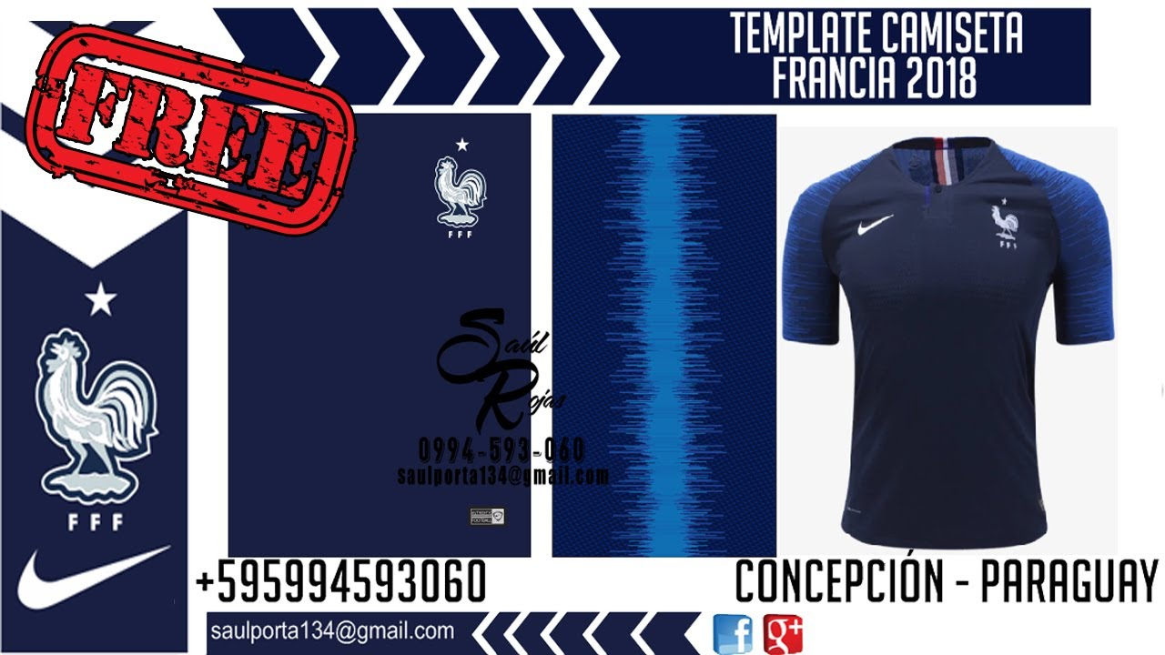 Francia Camiseta Gratisvector Template 2018 OkXTPuwZil