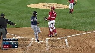 ATL@WSH: J. Upton scores on an error by Zimmerman