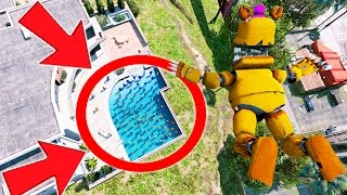 CAN NIGHTMARE FREDBEAR STUNT LAND IN A POOL OF FOXYS? (GTA 5 Mods For Kids FNAF Funny Moments)