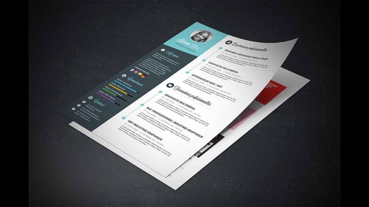 creer un cv sur photoshop template