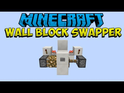 1 6 2 Minecraft Basic Redstone Wall Block Swapper Youtube