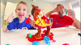 Father & Son PLAY BUCKAROO GAME! / Stack It High!