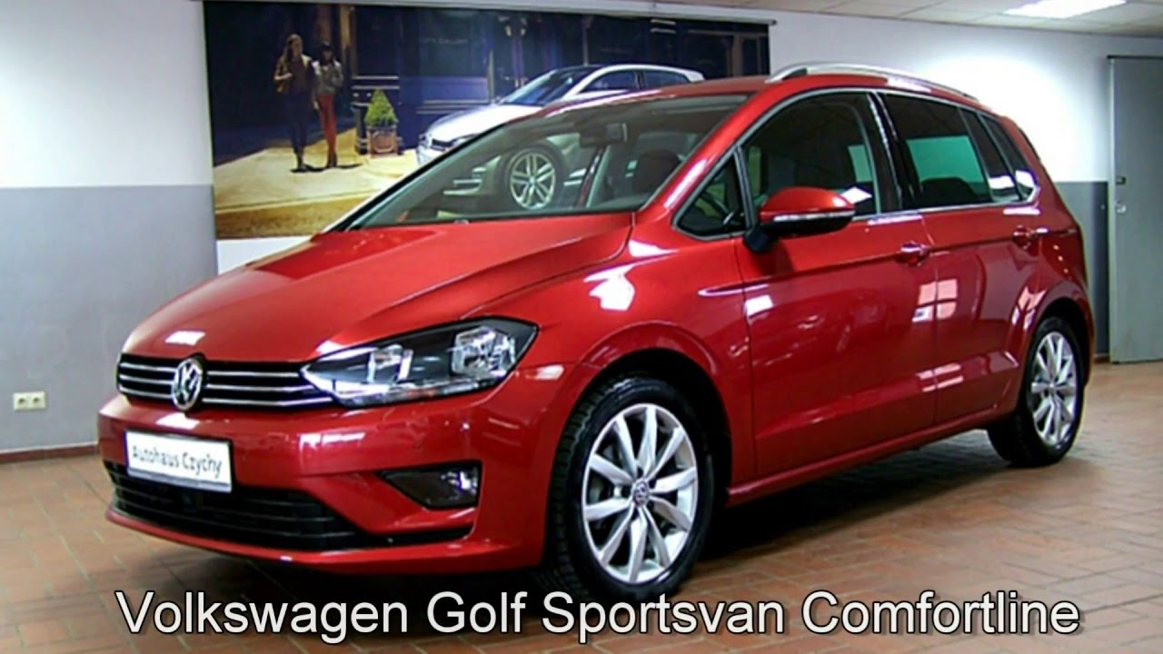 volkswagen golf sportsvan 1 6 tdi comfortline fw576460 sunset red autohaus czychy youtube. Black Bedroom Furniture Sets. Home Design Ideas