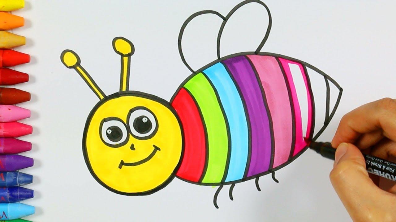 كيفية رسم النحل تلوين النحل لوحة النحل كيفية رسم ولون كيفية رسم ولون الاطفال التلفزيون Youtube