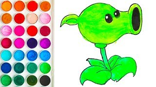 Drawing for Babies with Peashooter, Coloring Step by Step for Child