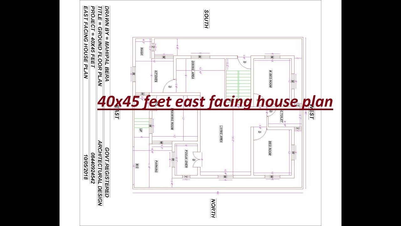 40x45 Feet East Facing House Plan 3bhk With Car Parking And Pooja