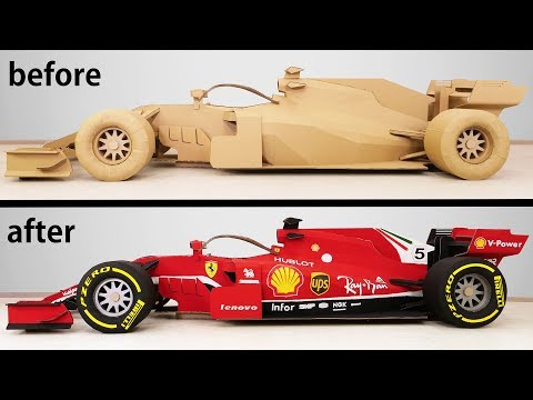 Transformation of a Cardboard Formula 1 into a Ferrari F1 Racing Car