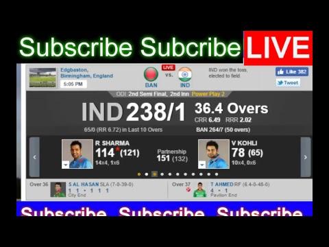 Live :Bangladesh Vs India Live Streaming, ICC Champions Trophy 2nd Semi Final  Jun 15, 2017
